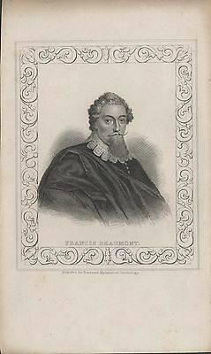 FRANCIS BEAUMONT - ORIGINAL 19th CENTURY ANTIQUE STIPPLE ENGRAVING c.1800s