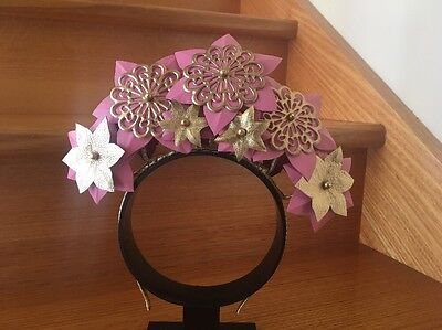 Pink And Gold Leather Flower Crown Brand New
