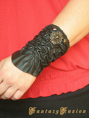 Gothic Rocker Fashion Punk Pirate Leather Bracer with Skull Concho