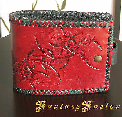 Classic Tribal Tattoo-Style Design Billfold Leather Wallet