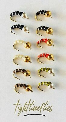 1 Dozen (12) Zebra Midge Assortment, Size 20 - 22, Tied in USA