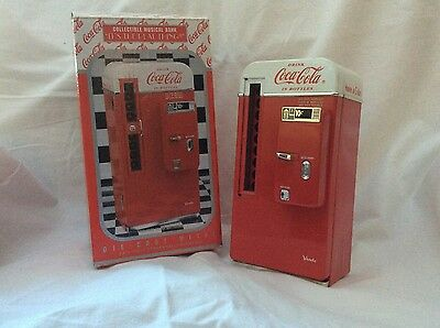 1994 Coca Cola Coke Machine Die Cast Metal Collectible Musical Bank, Box
