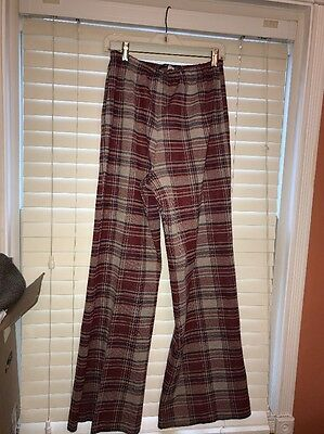 Vintage 1970s Womens Plaid Bell Bottom Pants Size 16 XL