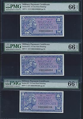 3 CONSEC Series 611 Military Payment Certificate 5 Cents FIVE Cents PMG 66 EPQ