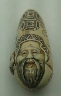 japanese hand carved and signed real netsuke painted cone head