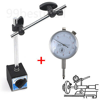Metric Dti Dial Indicator Test Gauge&stand With Magnetic Base Precision Clock Uk