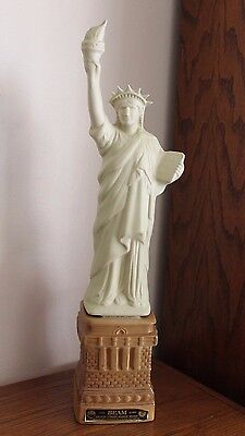 """Vintage 1985 2-pc Statue of Liberty Jim Beam Whiskey Decanter Clean 19.5"""""""