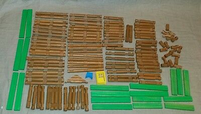Mixed lot of wood Lincoln Logs 130+ pieces Lot