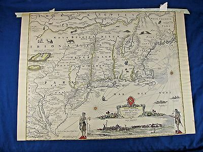 "19th Century Lithograph Copy of Novi Belgii Nieuw Amsterdam Map - 18""H x 24""W"