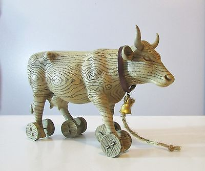 "Cow Parade ""Pull Toy"" Cow On Wheels, Retired 2000 #9130"