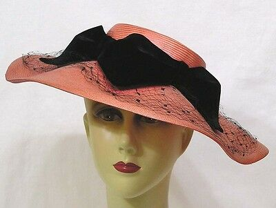 Vintage Womans Hat Salmon Pink Straw Blk Velvet Bows Dotted Veiling 1940s