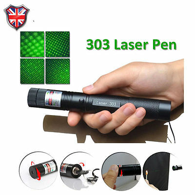 303 Green Pointer Burning Laser Pen Beam Light Adjustable Focus 532nm