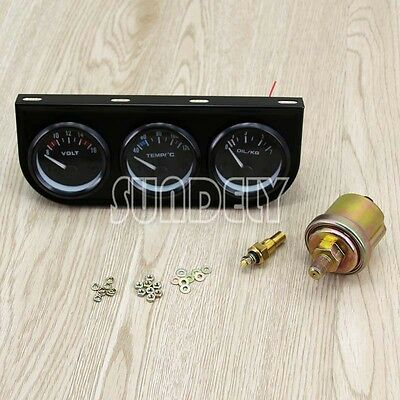 "12V 2""/52mm Triple Gauge Kit 3in1 Water Temp Volt Meter Oil Pressure Car Meter"