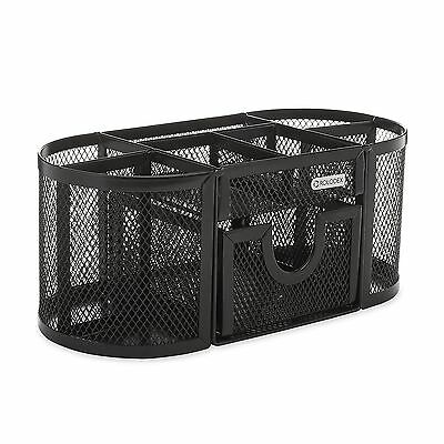 Office Desk Organizer Set Black Mesh Post It Storage Computer Dorm Room Holder--