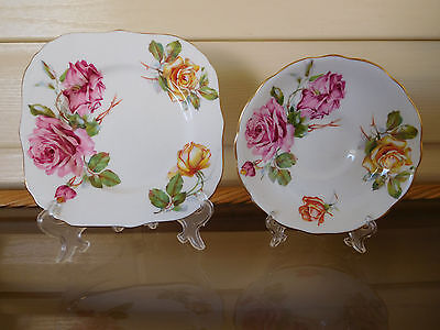 """Hammersley """"Morgan's Roses"""" Side Plate & Saucer Made In England"""