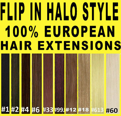 Full Head Flip In Halo 100% Remy Human Hair Extensions Brown Blonde Black