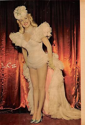 Betty Grable two vintage 40s color printed pinup photos