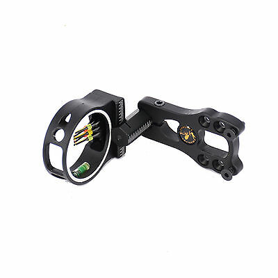 Black 5 Pin Fiber Optic Shooter Bow Sight w/ LED Light for Compound Bow Hunting