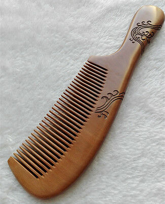 """8.6"""" Good Carved Pattern Old Peach Wood Handheld Massage Health Care Comb"""