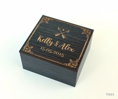 Wedding ring box by Treex, custom engraved ring bearer , flower design