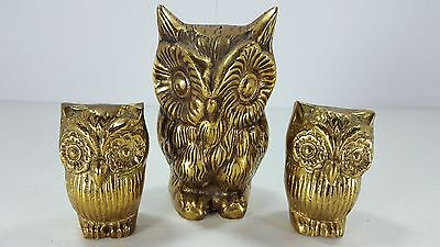 "3 Vintage Hollow Brass Owl Figurines Statues Paperweights {4"" - 2 1/4""}"