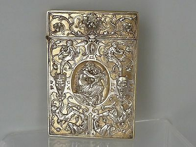 Silver Calling Card Case Cupid and Psyche Angels cherubs Grotesque Masks Nymphs