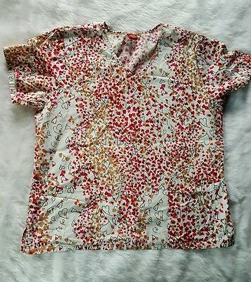 Dickies Women's Hearts Red Pink Beige Print Medical Scrubs Top Front Pockets D42