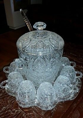 Bohemia crystal  Large  punch set with glasses bohemian czech VERY UNIQUE