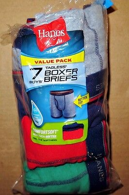 Hanes Tagless Boys 7 Pack Comfort Flex Waistband, Boxer Briefs L Youth