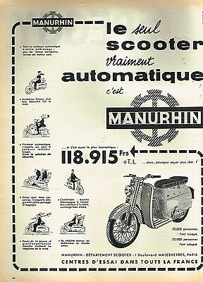E- Publicité Advertising 1958 Scooter Manuhrin
