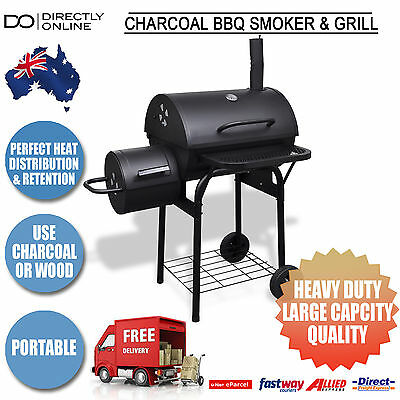 Charcoal BBQ Smoker Barbecue Grill New Cooking Food Meat w/ Thermometer