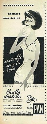 F- Publicité Advertising 1958 Lingerie maille dentelle Pan