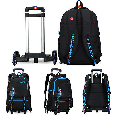 Children Kids Trolley School Luggage Hand Bag with 6 Wheels Removable Backpack