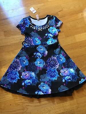 Girls Justice Dress,Size 7, Black with Blue Floral, NWT