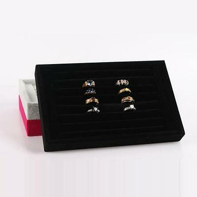 Ring Velvet Jewellery Display Box Cufflinks Storage Tray Case Holder Organizer F