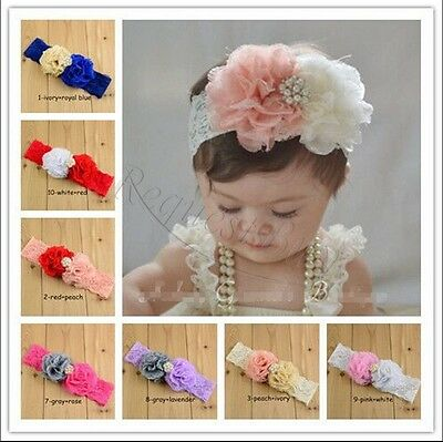 bd336cca81e Cute Kids Baby Girl Toddler Lace Flower Headband Hair Band Headwear  Accessories
