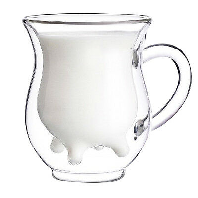 KS Cute Calf and Half Transparent Heat-Resisting Double-layer Glass Cup/Creamer