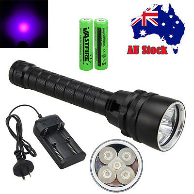 Underwater 100m 395nm Diving 5xUV LED Dive Scuba Flashlight Torch 18650+Charger