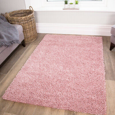 Fluffy Super Soft Cosy Pink Shaggy Rugs Thick Non Shed Baby Pink Living Room Rug