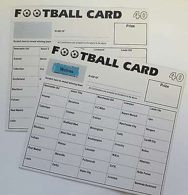 Football Scratch Cards 40 Teams Pack Of 10 Fundraising Scratch Cards