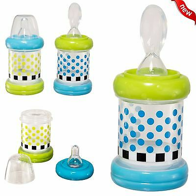 Baby Cereal Feeder Bottles Food Nurser Sassy Set of 2 Count Nipple Spoon NEW