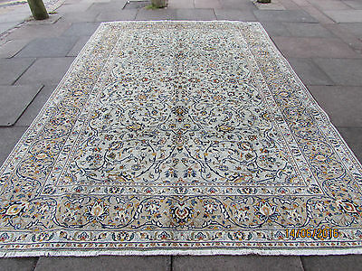Fine Old Traditional Hand Made Persian Oriental Green Wool Carpet Rug 325x224cm
