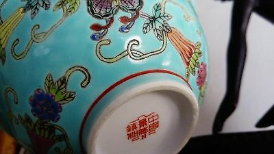 Antique Hand Painted Chinese Lotus Bowl. Signed FreeUKPostage