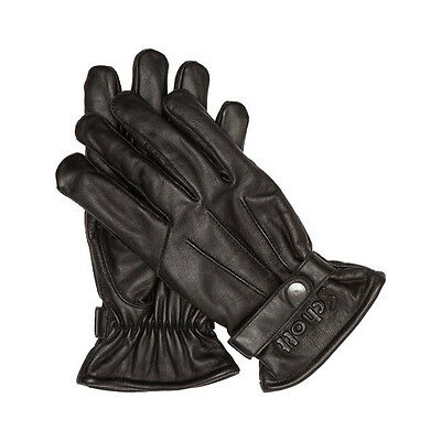 Guanti Uomo By Schott Logo (Buffalo Leather)Black)Made In Usa) Size Eu (Large)