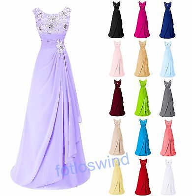 New Lace Long Formal Chiffon Bridesmaid Ball Party Evening Prom Cocktail Dresses