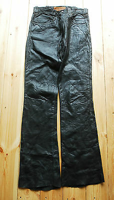 Rare 70's Oshwahkon Black Leather Slim Flared Trousers Talon Zip 30""
