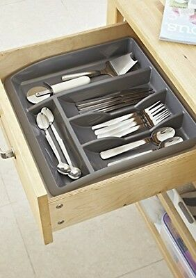 ADDIS Drawer Organiser - Black Plastic Cutlery Tray Holder Draw Rack Utensils