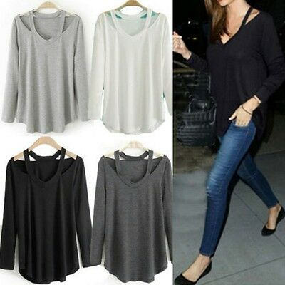 AU Womens Casual Tee Top Soft LONG SLEEVE V NECK Loose Solid T-Shirt Blouse Tee