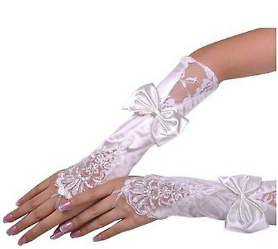 Womens Lace Wedding Dress Glove Fingerless Satin Gloves for Bride Evening Party