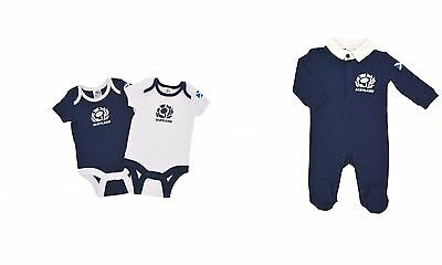 Scotland Scottish Rugby Union Baby Boys Sleepsuit 2 Pack Bodyvests 0 - 18 Months